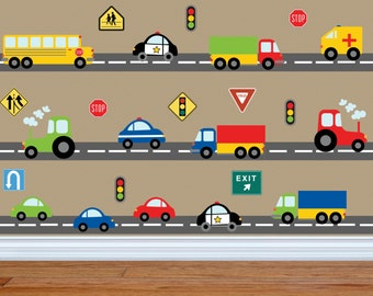 Truck Wall Decal   Construction Wall Decal   Car Wall Decal    Transportation Wall Decal   Boy Wall Decal Nursery Wall Decal Kids Wall  Decals