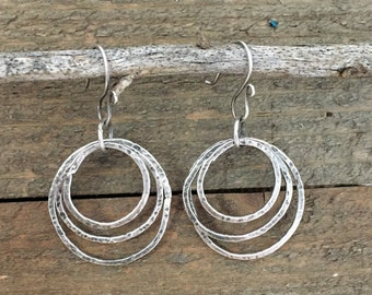 Triple Hoop Dangle Sterling Silver Earrings, Circle Earrings, Hammered Hoops, Layered Circle Dangle Earrings