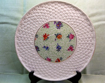 Large Erphila Cake Platter, Mayfair Pattern with Wide Basket Weave  Rim, Made in Czechoslovakia
