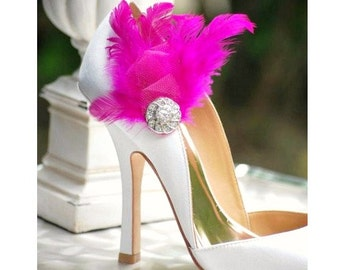 Shoe Clips Fuschia / Ivory / White / Black / Blue Feathers & Rhinestone. Bride Bridal Couture. Bright Fun Chic Edgy Bold, Cocktail Burlesque