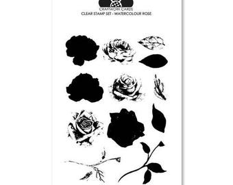 Watercolour Rose - A6 clear stamp set from Craftwork Cards