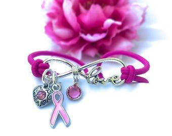 Think Pink Crystal Breast Cancer Awareness Infinity Love Sympathy Cure Hope Cancer Bracelet