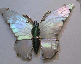 Vintage Ocean Treasures Butterfly Brooch, Sterling/Vermeil, 1940's Mother-of-pearl/Abalone