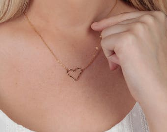 Open Heart Necklace, Dainty Heart Necklace Gift, Perfect Gift for Her, Simple Heart Outline Necklace, 14K Gold Fill, Delicate Heart Necklace