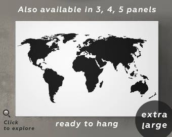 World map print black and white world map wall art white map large black and white world map canvas black and white map of world print big black gumiabroncs Gallery