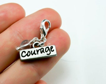 Courage Charm. Cancer Courage Charm. Silver Clip On Charm. SCC090