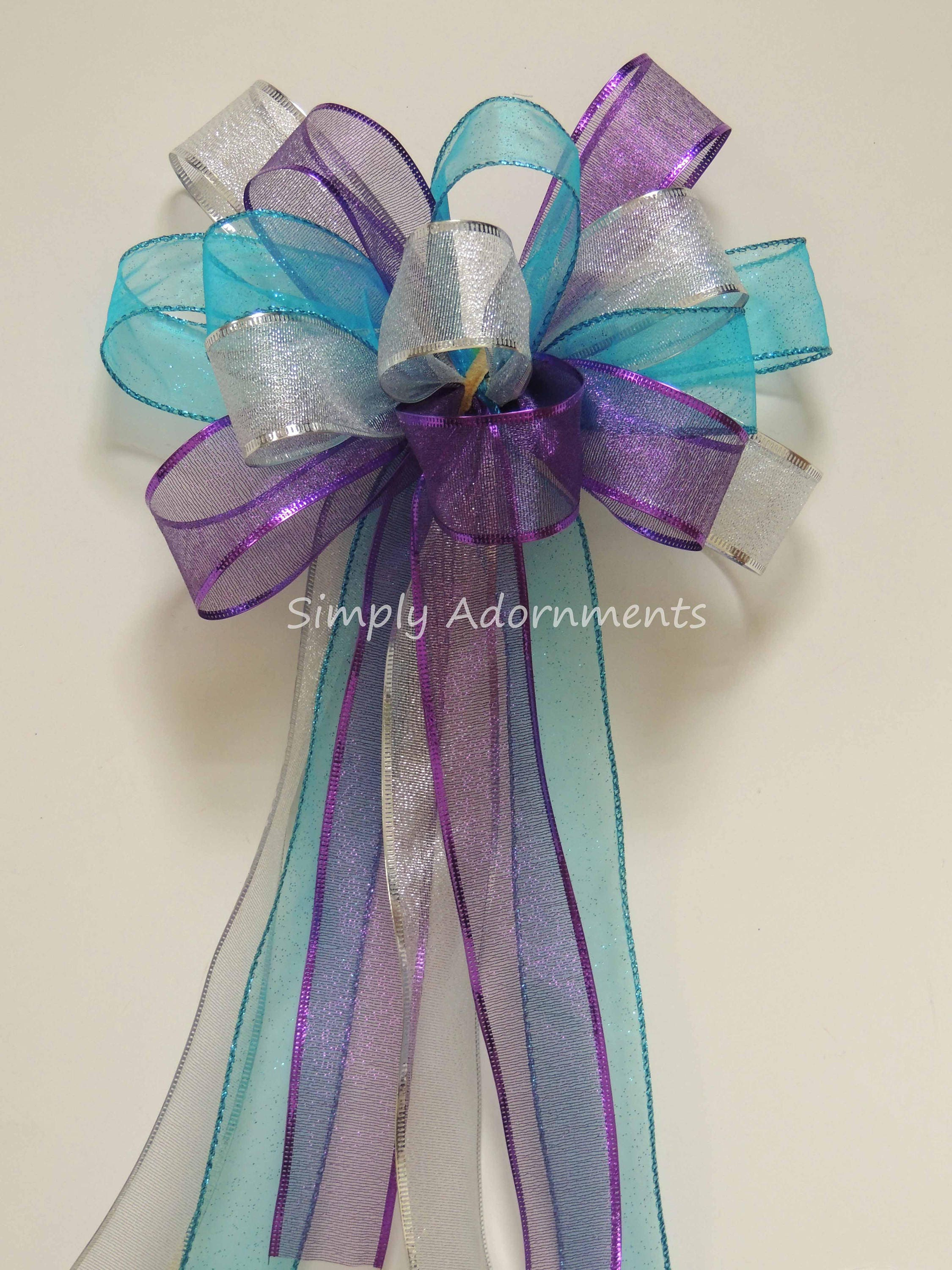 Purple Blue Silver Door Bow Blue Purple Silver Birthday Party