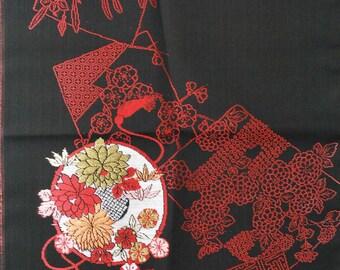 """13.4""""w. x 14.1""""l. Vintage silk kimono fabric flowers 3062I"""