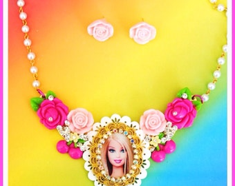 Sale Swarovski Crystal Barbie Bib Necklace and Earring Set
