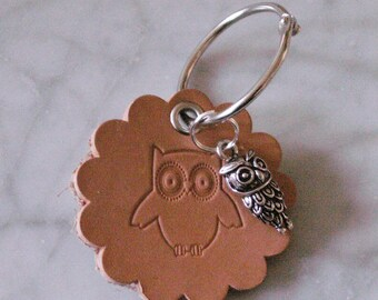 "Keychain leather ""OWL"", crafted from leather"