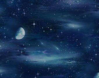 Elizabeths Studio - Landscape Medley - Moon and Stars - Black - Fabric by the Yard 430E-BLK