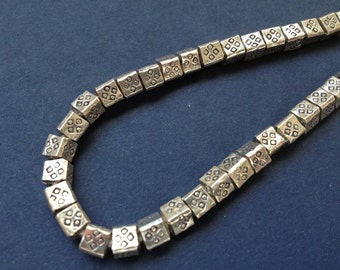 HT-63 Thai Hill Tribe Fine Silver Hand Stamped Beads - 16 Pieces