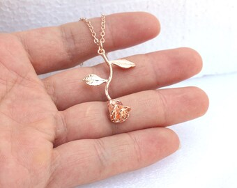 rose necklace,Rose gold Necklace, rose flower leaf,Bridesmaid gift, Initial Necklace, Valentine Gift,Lovely Flower, Lovers gift,