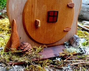Fairy Door, Miniature Hobbit Door with Porch, Wood Fairy House door handmade with natural forest finds, one of a kind