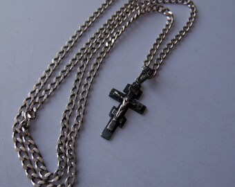 Russian sterling silver cross with chain. صليب