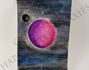 Planet M - 4x6 Original Watercolor Painting