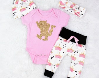 Where the wild things are/baby girl/crown pants/organic cotton