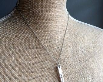 Personalized vertical bar necklace-Custom Bar Necklace-Silver Necklace-Bar Jewelry-Custom Jewelry-Love Jewelry-hand stamped necklace