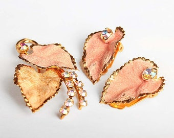 Peachy Pink and Gold Sugar-Coated Enamel with Crystal AB Rhinestones Gold-Tone Brooch and Clip-On Earring Set