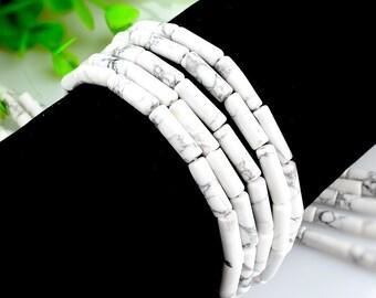 15Pcs - 4x13mm white Turquoise Beads, Tube Beads, cylinder beads, Genuine Natural Stone beads