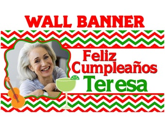 Fiesta Time Party Banner ~ Personalize Party Banners Indoor or Outdoor Mexican Fiesta Birthday Banner
