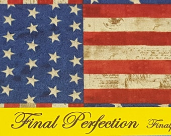 Patriotic American Flag Fabric-Vintage American Flag Look-Fabric by the Yard-Fat Quarter