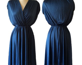 Vintage/vtg 1980's Hollywood Glamour Pleated top cross over bodice royal blue navy circle elastic waist dress