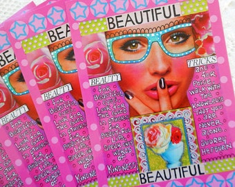 Beauty Tricks Beautiful Postcards Set of 4 Print from Original Art Journal Page by RememberMeEmily