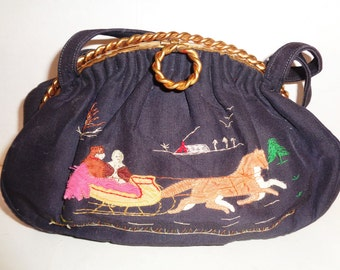 Vintage 40s Black Applique Embroidered Sleigh Horse Scene Purse Mrs. Dulany