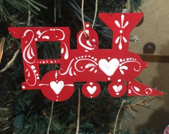Scandinavian red and white train ornament