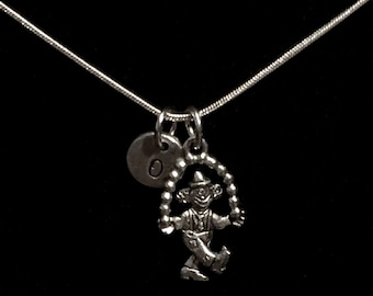 Juggling Clown Sterling Silver Necklace, Circus Necklace, Pewter Charms, Sterling Silver, Initial Necklace, Personalized Necklace qb2