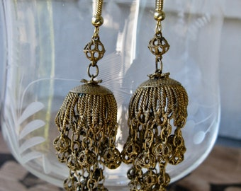 Unusual Vintage Jhumki Brass Dangle Earrings ~ Filigree Cages w/ Multiple Chains and Ball Ends