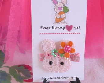 Some BUNNY Loves Me- Fluffy Lavender or Pink BUNNY Hair Clip