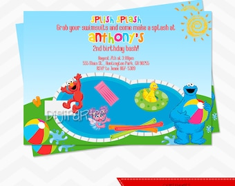 Elmo Pool Party Invitation