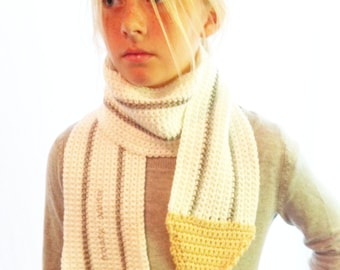 Colored PENCIL SCARF Adults / Kids / Children's Knit hand made crochet