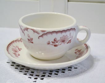 Vintage Syracuse China Cup and Saucer Set Red Floral Transferware Restaurant Ware PanchosPorch