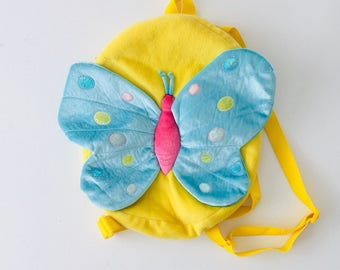 Cute Butterfly Backpack plush yellow pinkblue metallic fuzzy inside pouch zipper straps baby light raver rave goth punk vintage 1990s bag