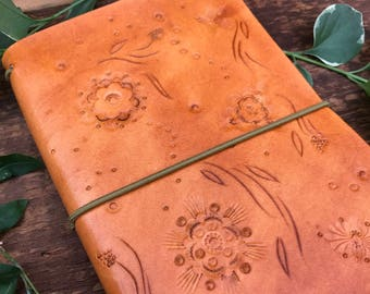 Hand Tooled Small Size Travelers Notebook, Journal with Hand Tooled Wildflowers