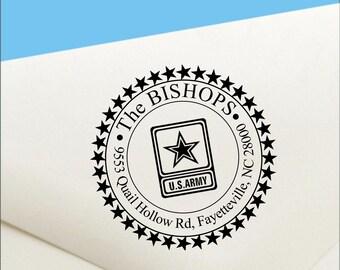 Round Army Return Address Stamp, Army Self Inking Address Stamp,  Military Custom Address Stamper, Army Stamp