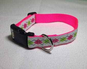 """Beautiful Jacquard Ribbon Collar, White Lime Pink Argyle, 1 inch wide and adjustable 12"""" to 18"""""""