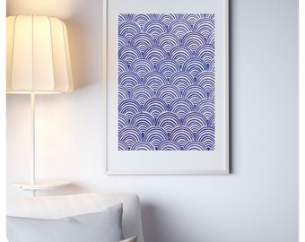 A2 Scallop Fish Scale Lino Print Poster Blue Purple Handmade Lino Cut
