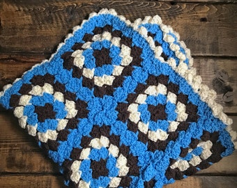 Soft & Squishy Granny Square Baby Cradle Crochet Blanket - Blue, Cream, Brown - Ready to ship!