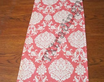 Coral and White Damask Table Runner , choose your size or  Add a ruffle!