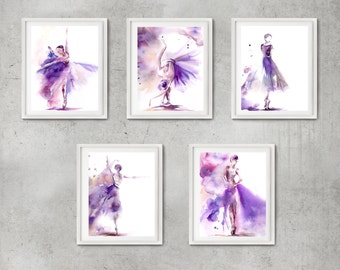 Ballet Art Prints Set, Set of 5 fine art prints, Ballerina Watercolor Painting Print, Ballet Modern Wall Art Prints, Ballerina in purple
