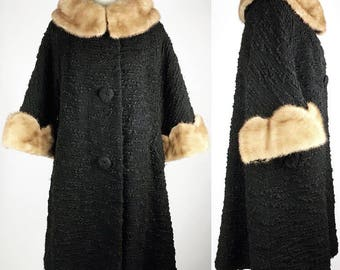 Vintage 1950s black nubby wool coat with mink collar and scalloped mink cuffs, Large