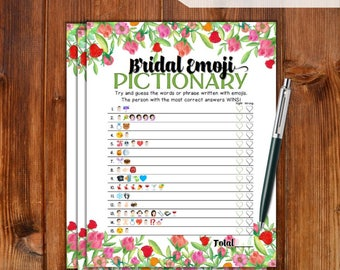 Bridal Shower Game Emoji Pictionary - Roses Flowers - Instant Printable Digital Download, DIY Bridal Shower Printables, Bridal EMJOI - RS79