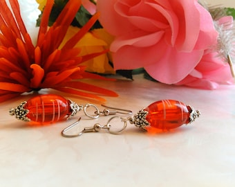 Red and Silver Pierced Earrings Handmade E#285