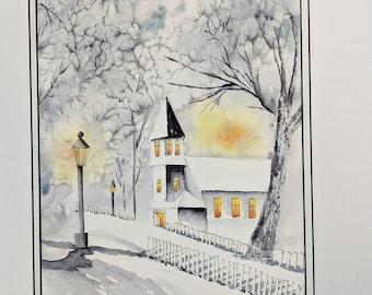 Winter Church Winters Evening Light Snow Watercolor