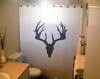 Deer Skull Shower Curtain, Trophy Hunting Antlers Bathroom Decor, Magestic  Buck, Extra Long