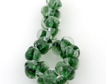 10 Christmas Green Teardrop Handmade Lampwork Beads - 13mm